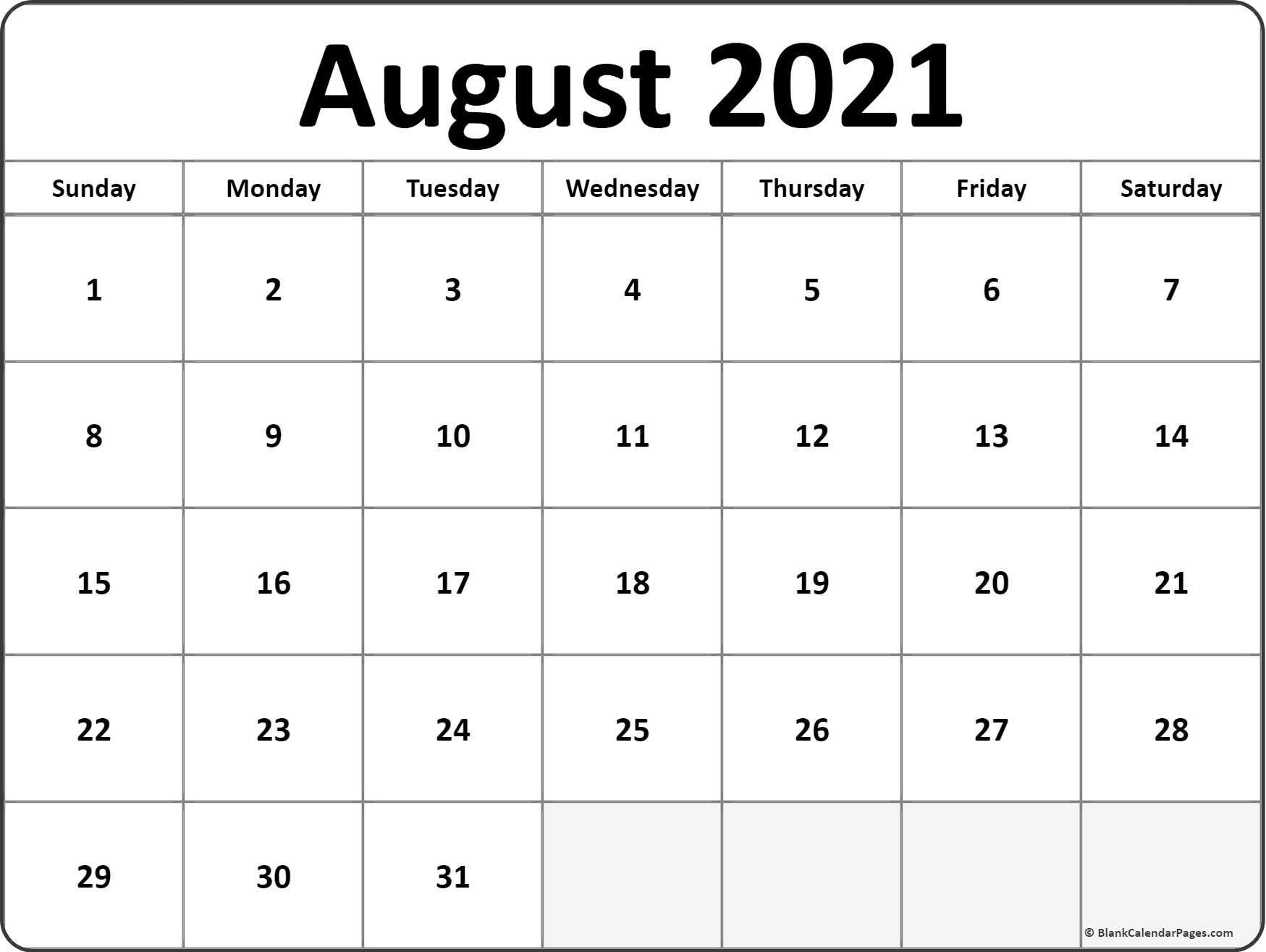 Get 2021 August Calendar Printable