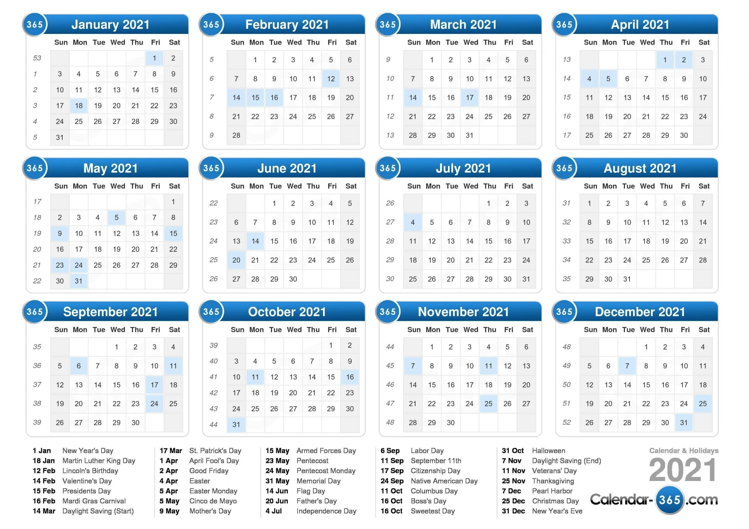 Get 2021 Calendar By Week Number Excel