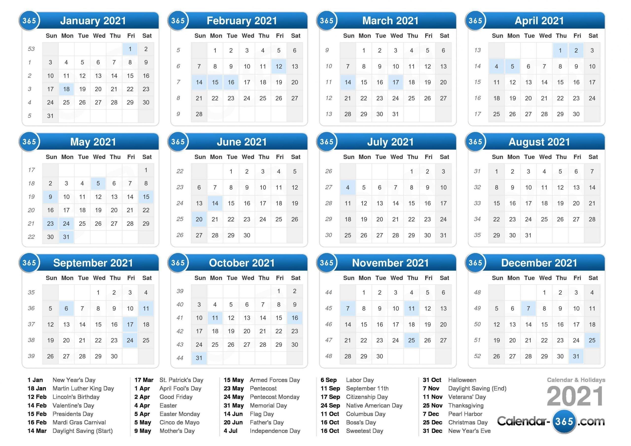 Get 2021 Calendar Financial With Week Number