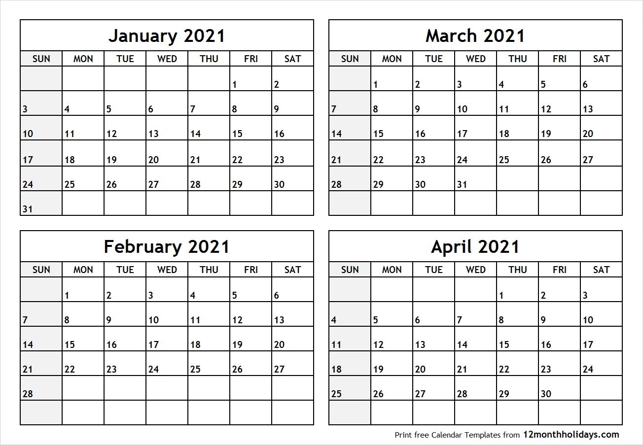 Get 2021 Calendar January February March April 2021