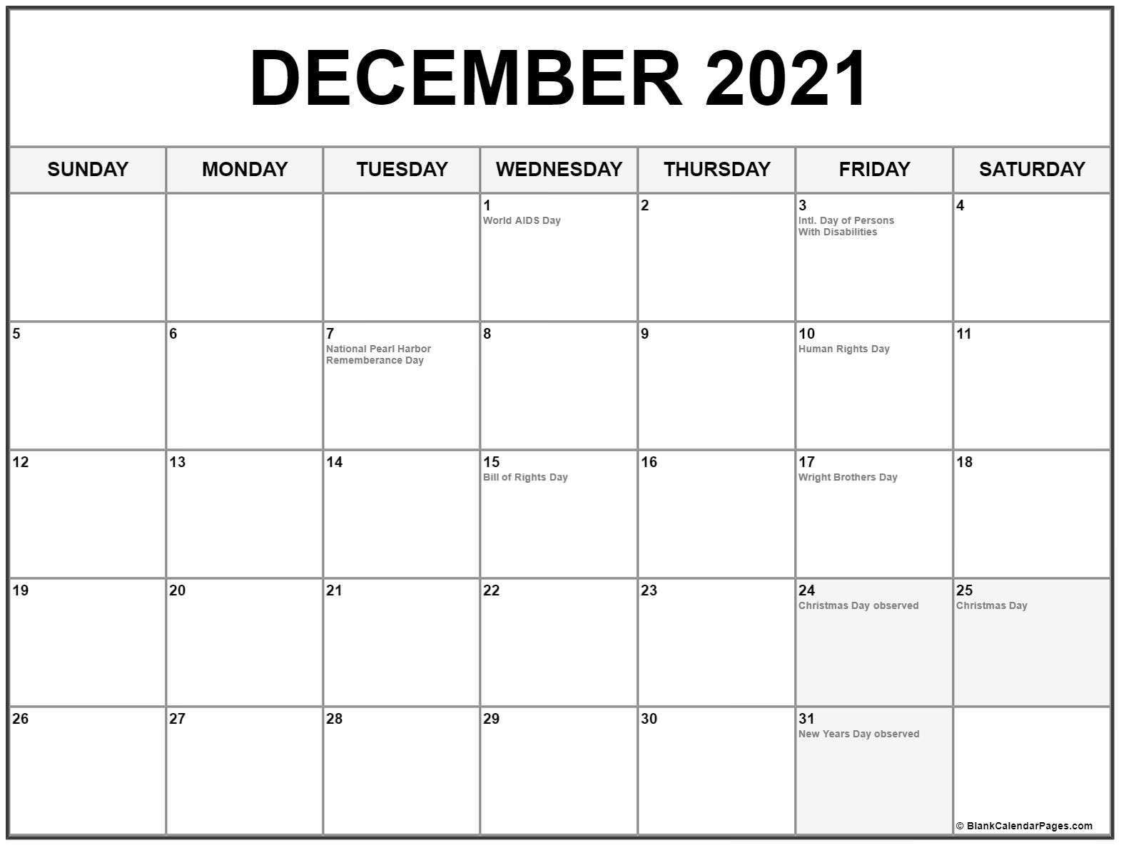 Get 2021 Calendar Printable December Christmas