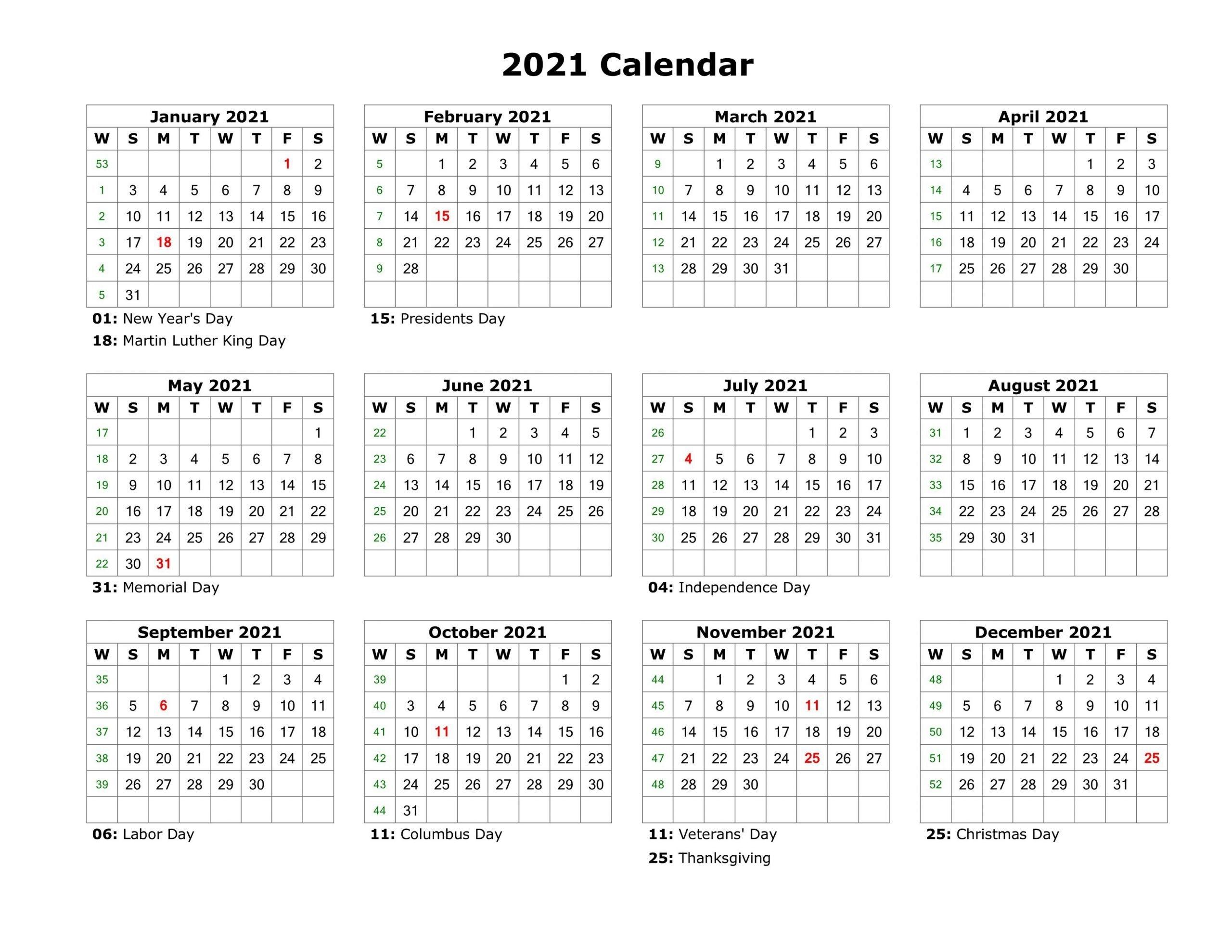 Get 2021 Calendar Printable One Page