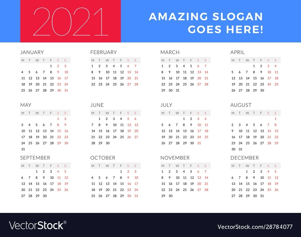 Get 2021 Calendar Weeks Start On Monday