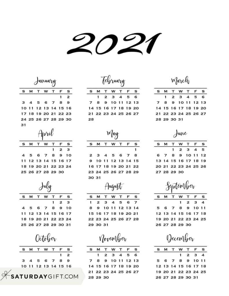Get 2021 Calendar Year At A Glance Printable
