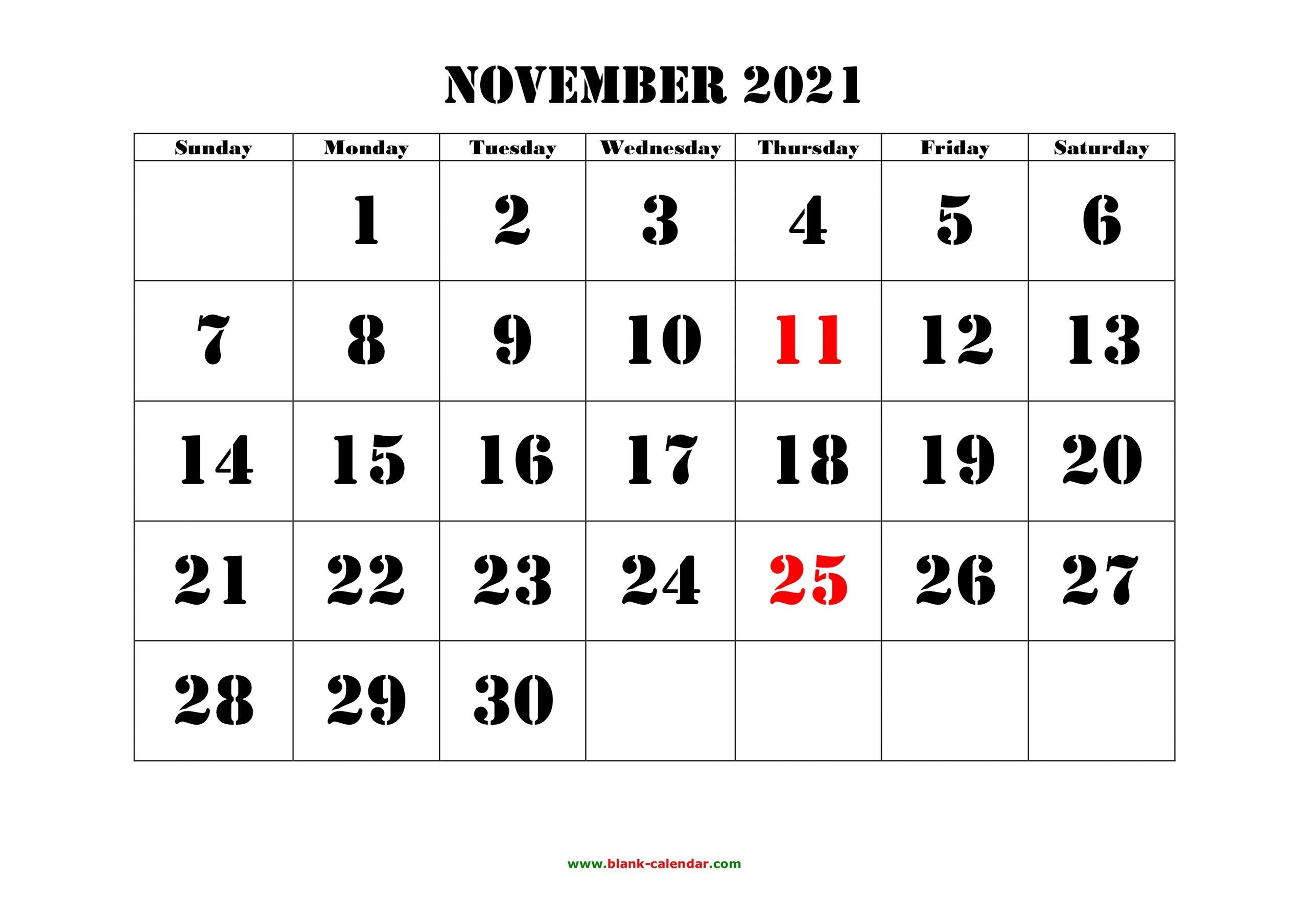 Get 2021 Calender November