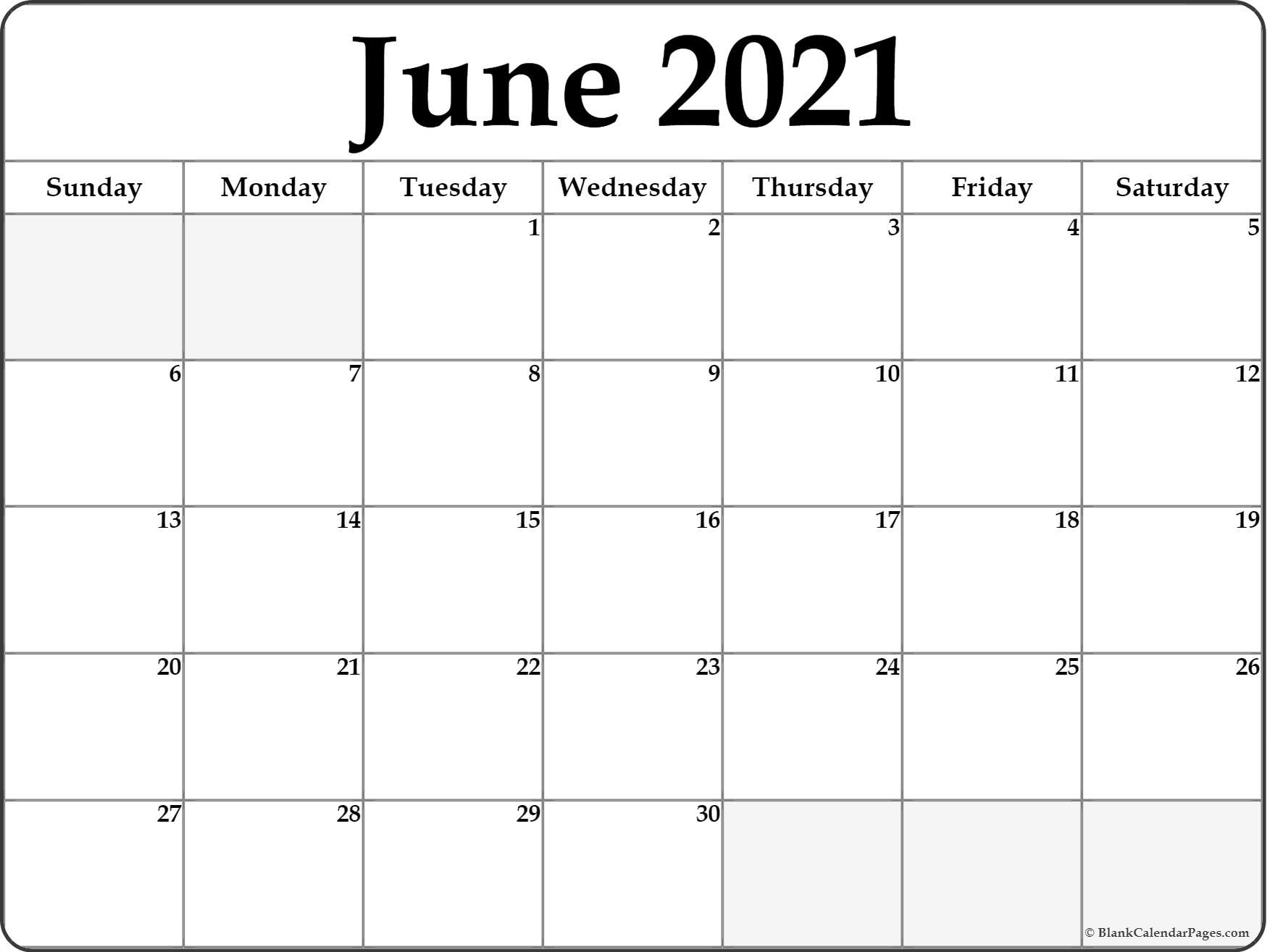 Get 2021 June Calendars To Print Without Downloading