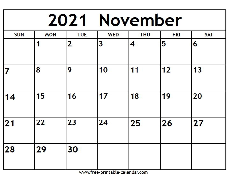 Get 2021 November Calendar Printable Free