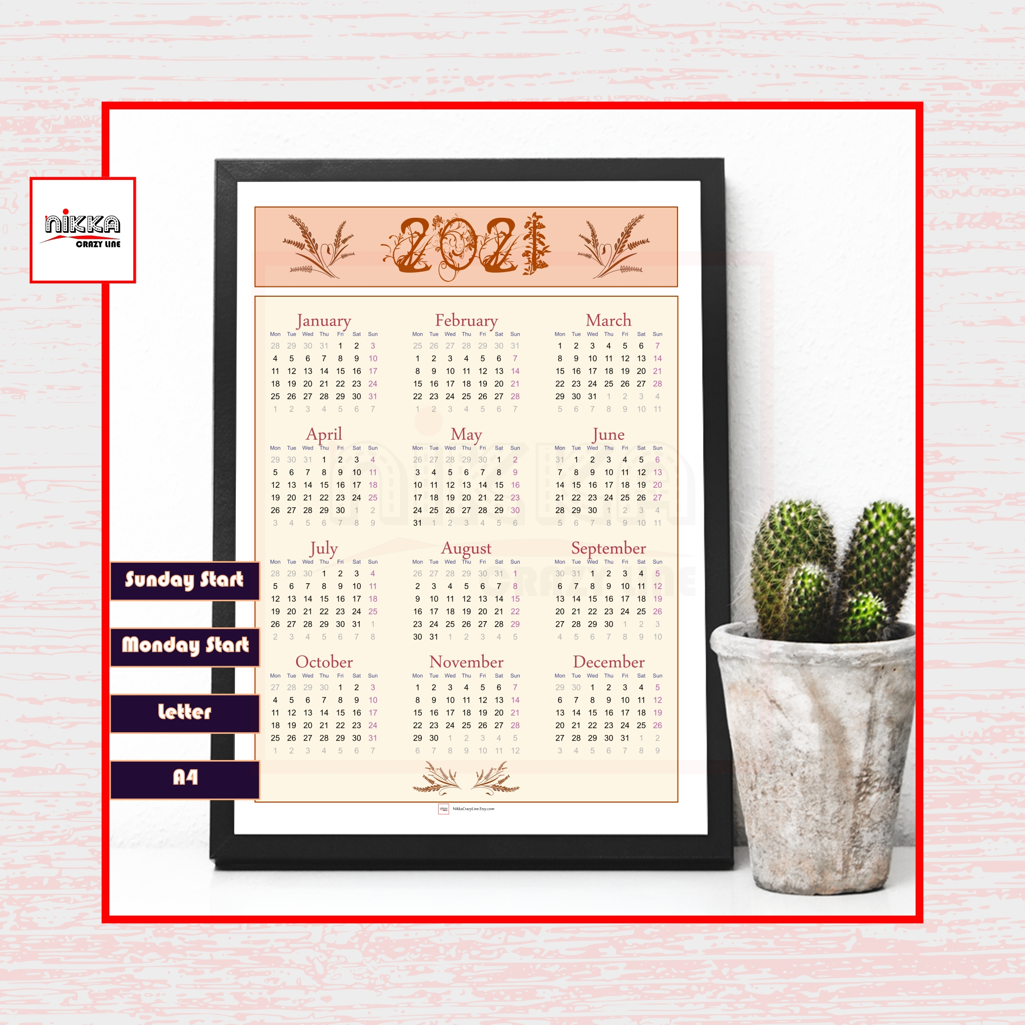 Get 2021 Single Page 8.5X11 Calendar