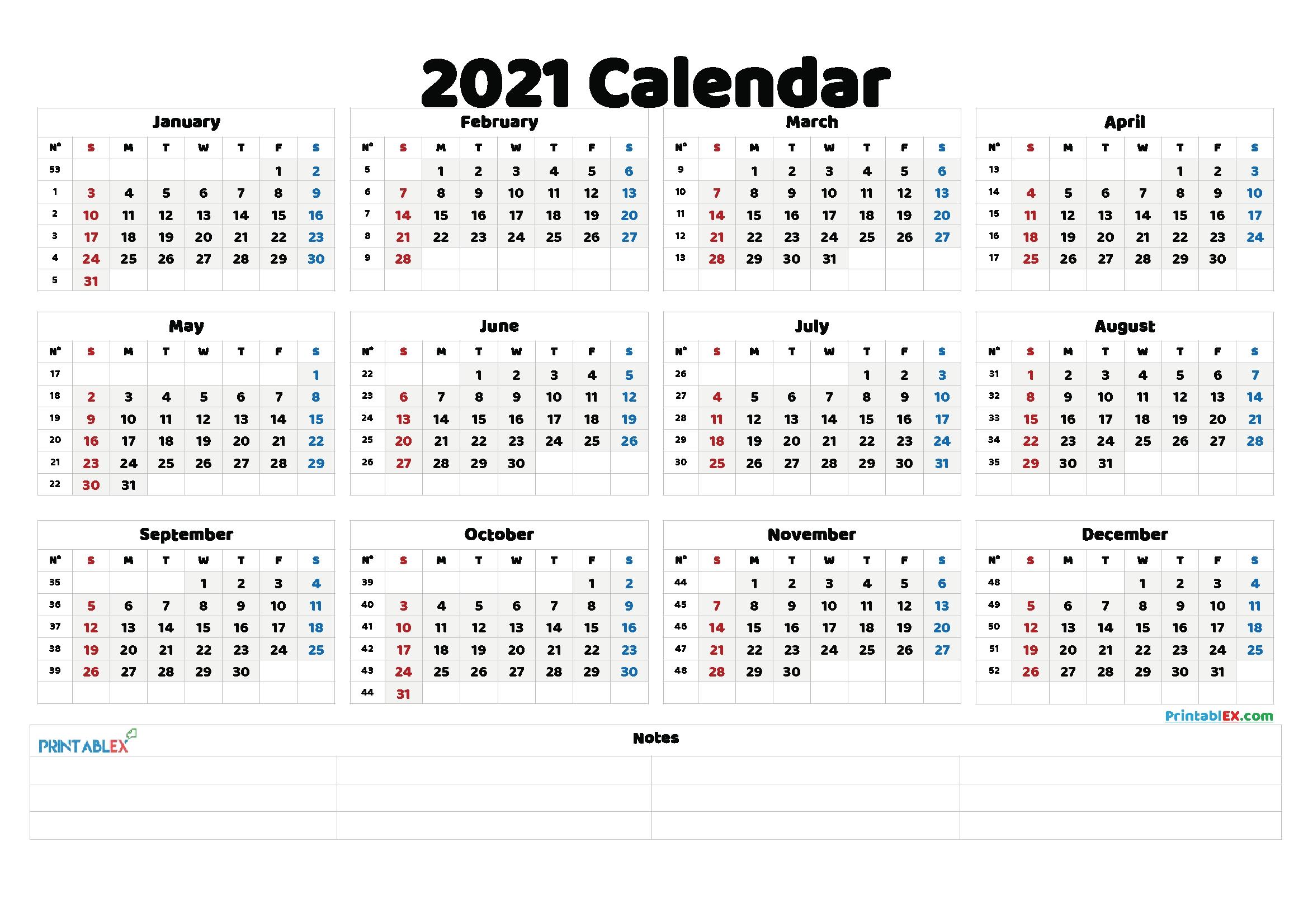 Get 2021 Work Week Calendar Printable