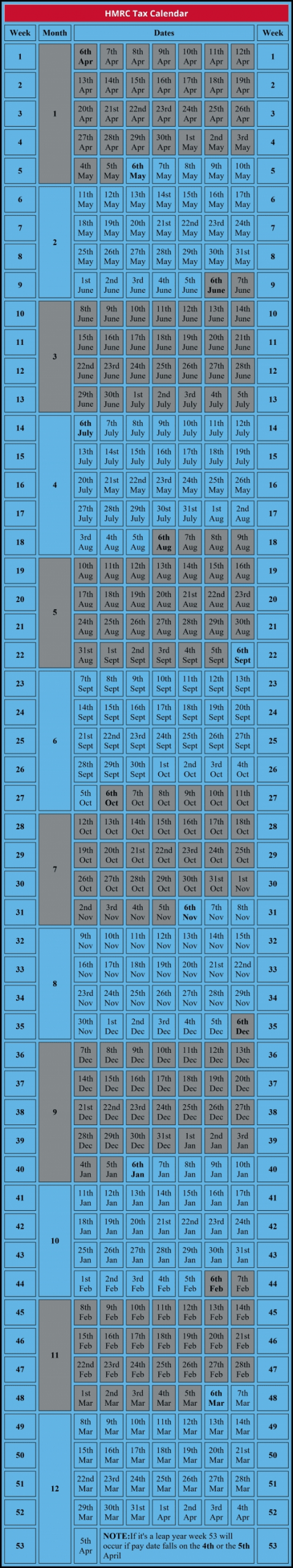 Get 22 Year Tax Calendar Hmrc