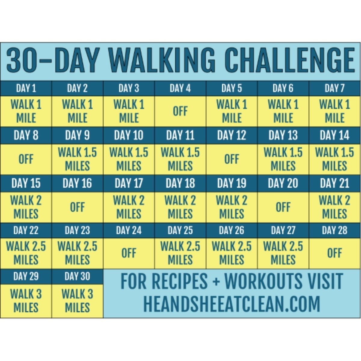 Get 30 Day Fitness Challenges Printable Charts