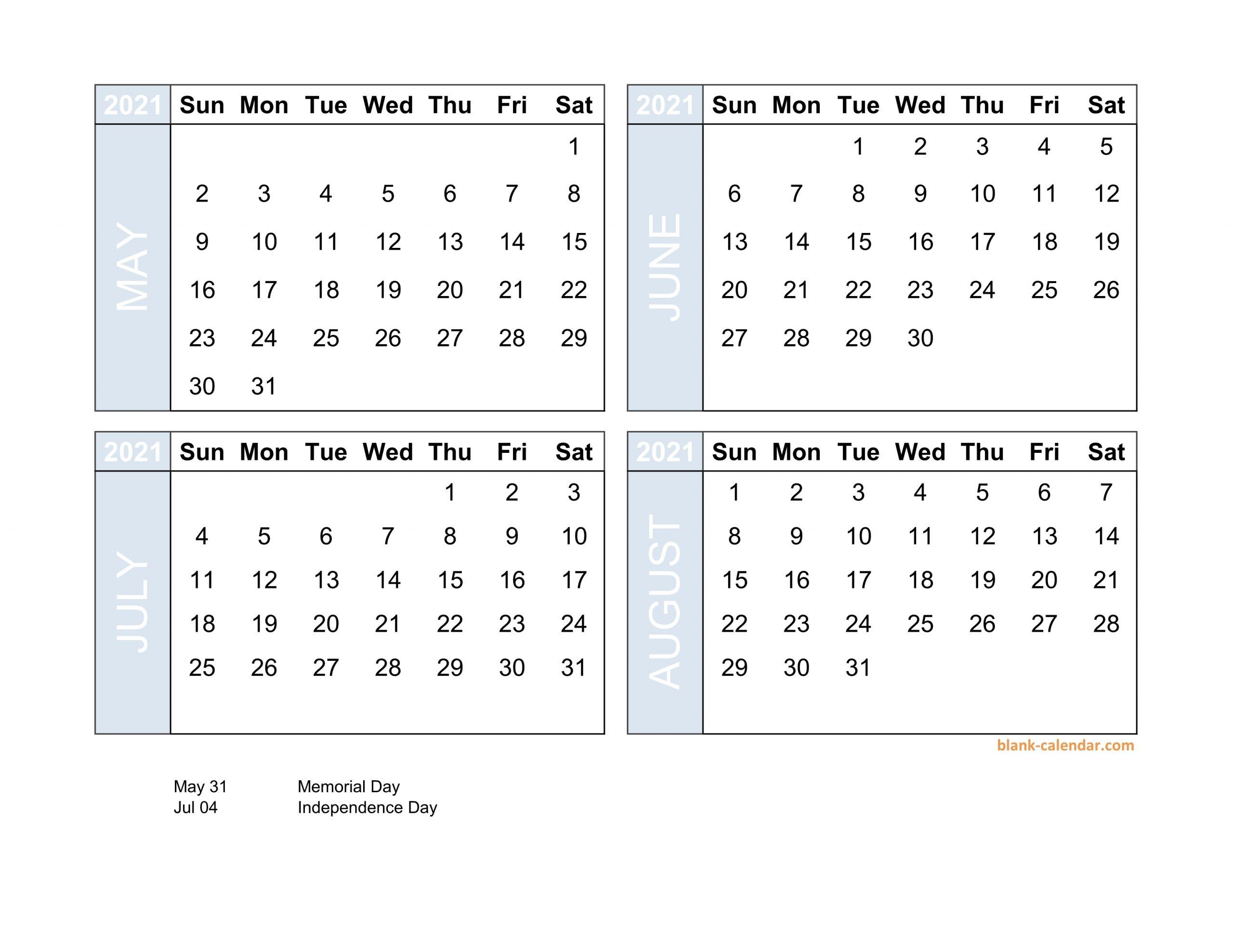 Get 4 Month Printable Calendar 2021