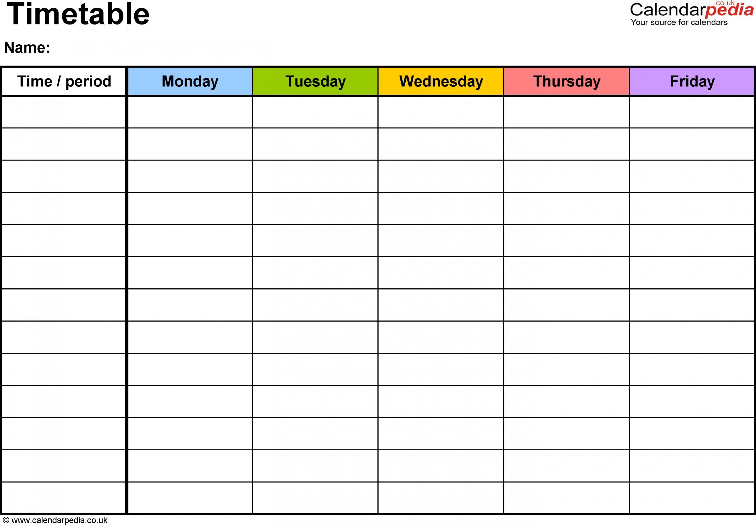 Get 5 Day Calendar For Microsoft Word