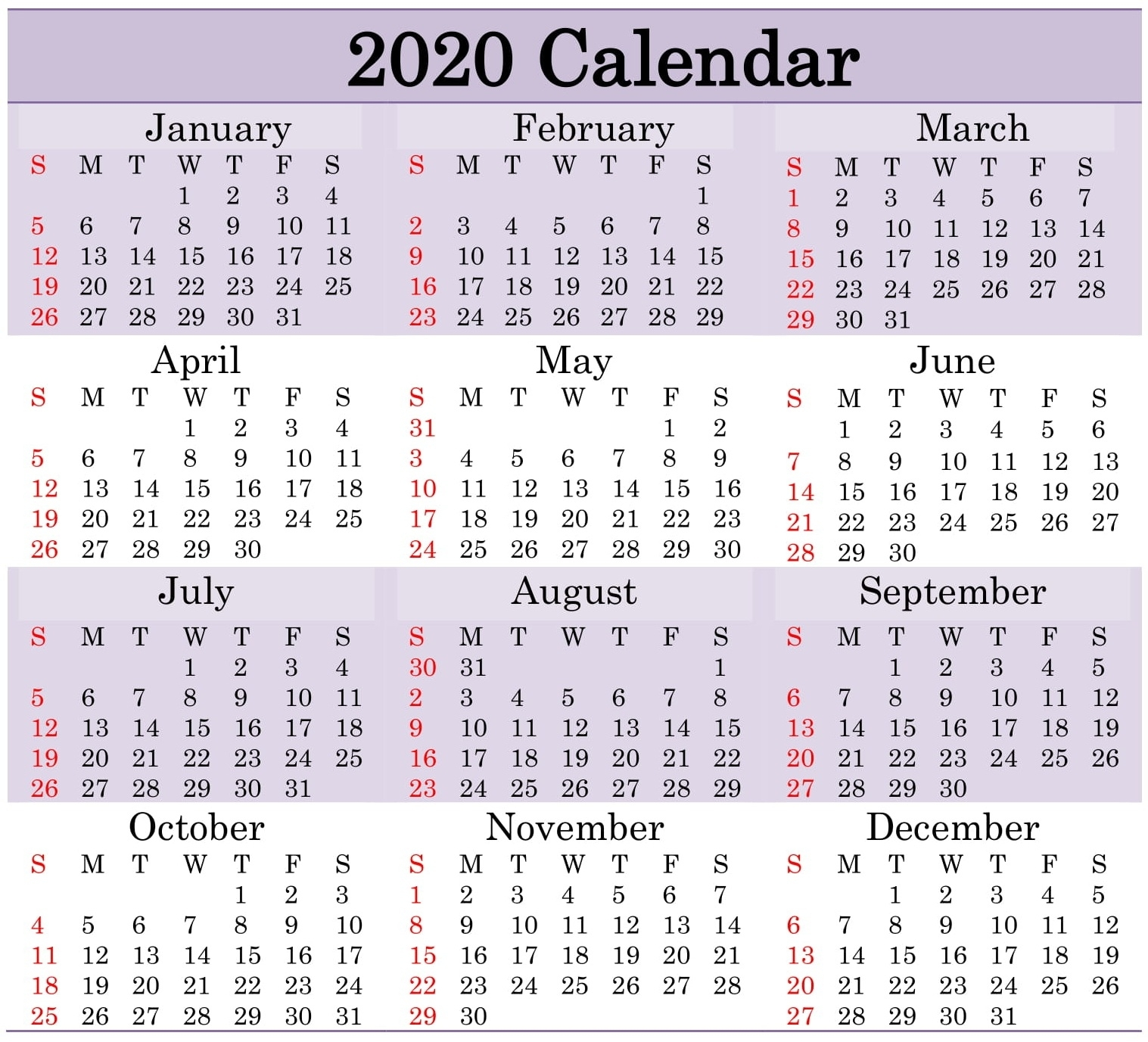Get Annual Calendar By Month With Julian Dates