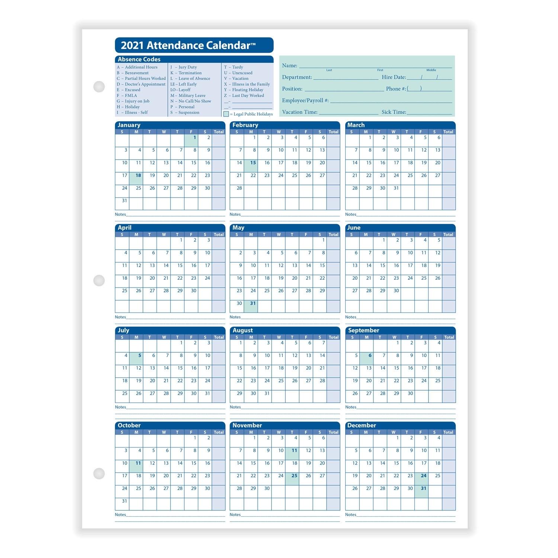 Get Attendance Calendar 2021