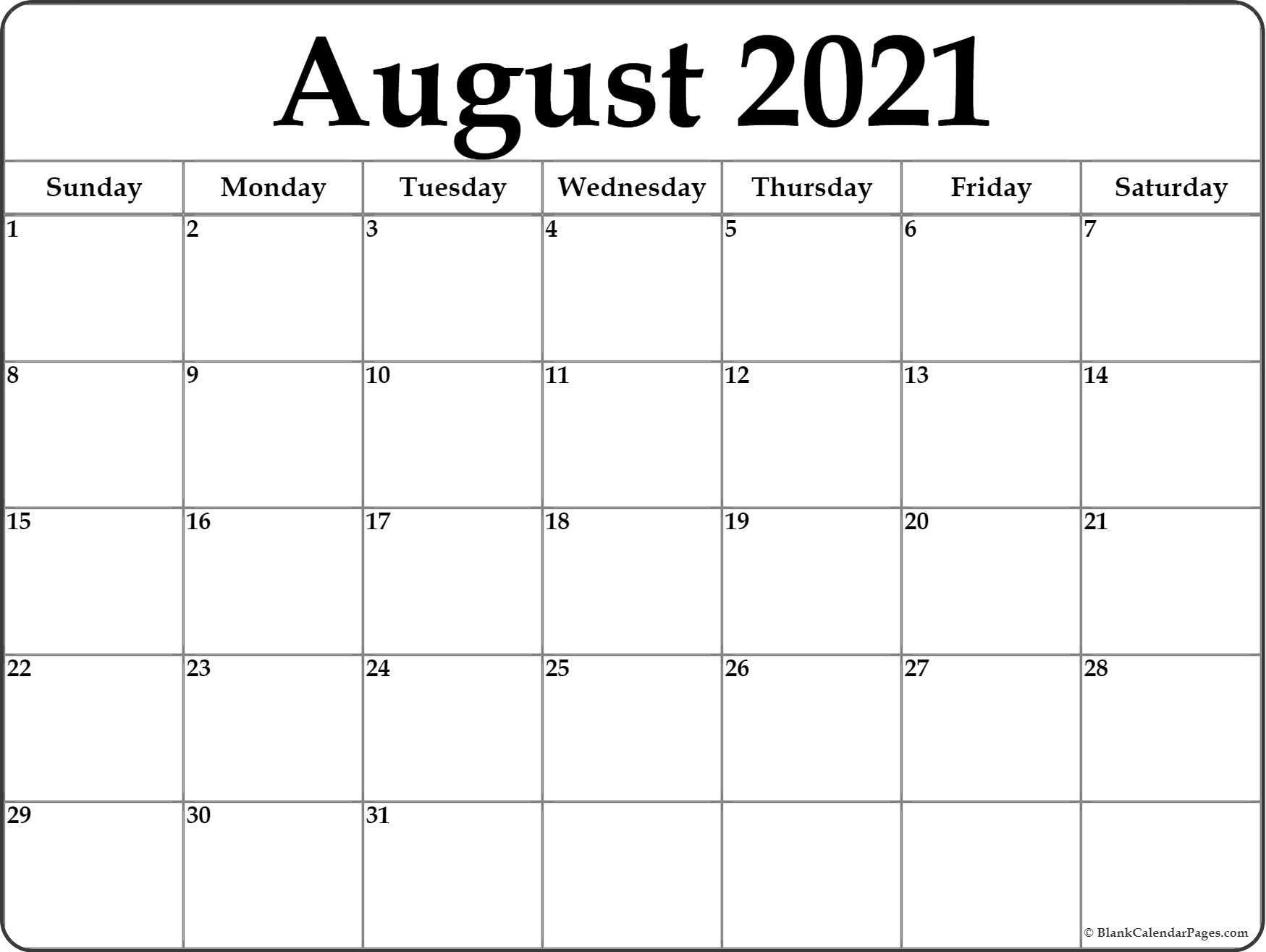 Get August 2021 Calendar Printable Template