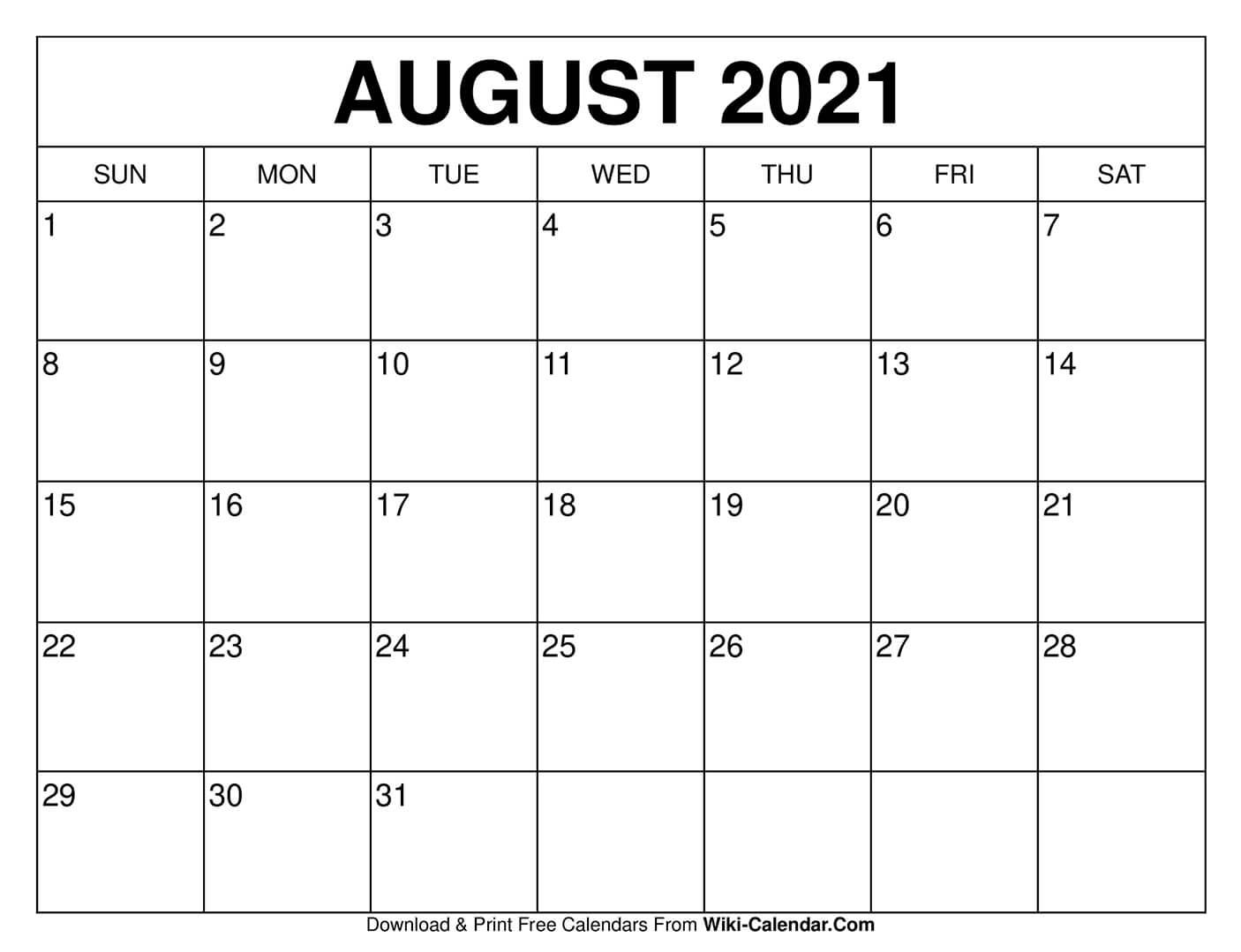 Get August 2021 Calendar Printable