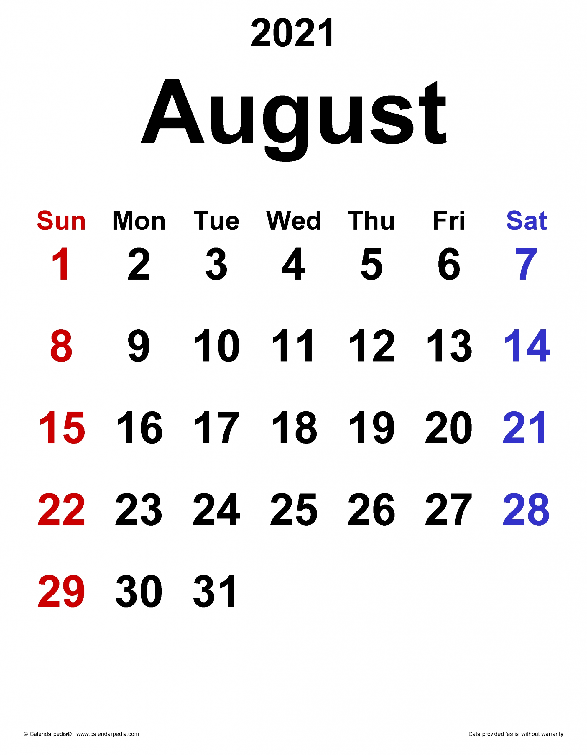 Get August 2021 Calendar With Writing Space