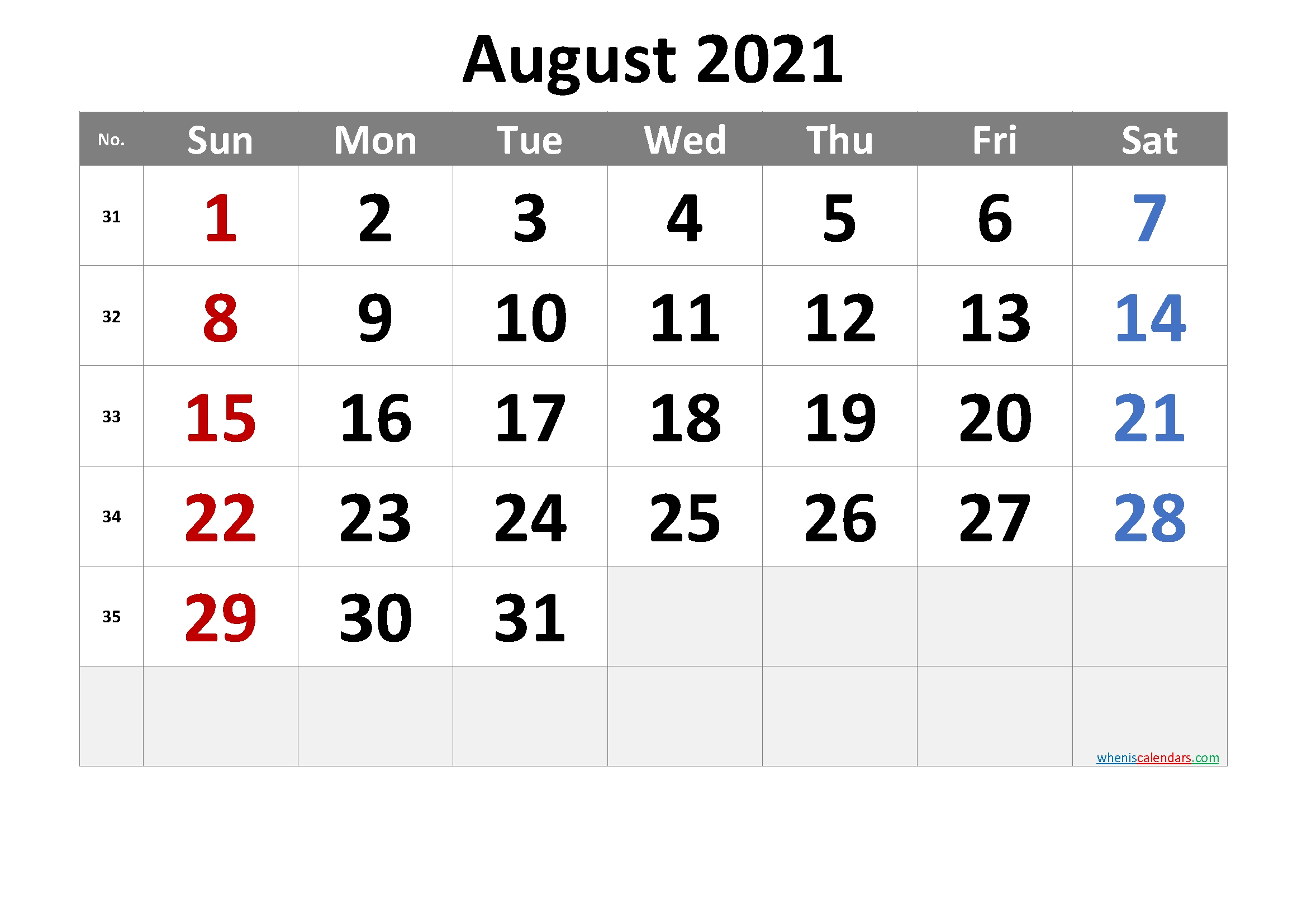Get August 2021 Fresh Calenders Download And Save To Word