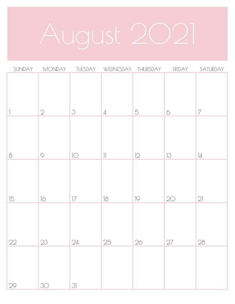 Get August 2021 Printable Calendar Colorful