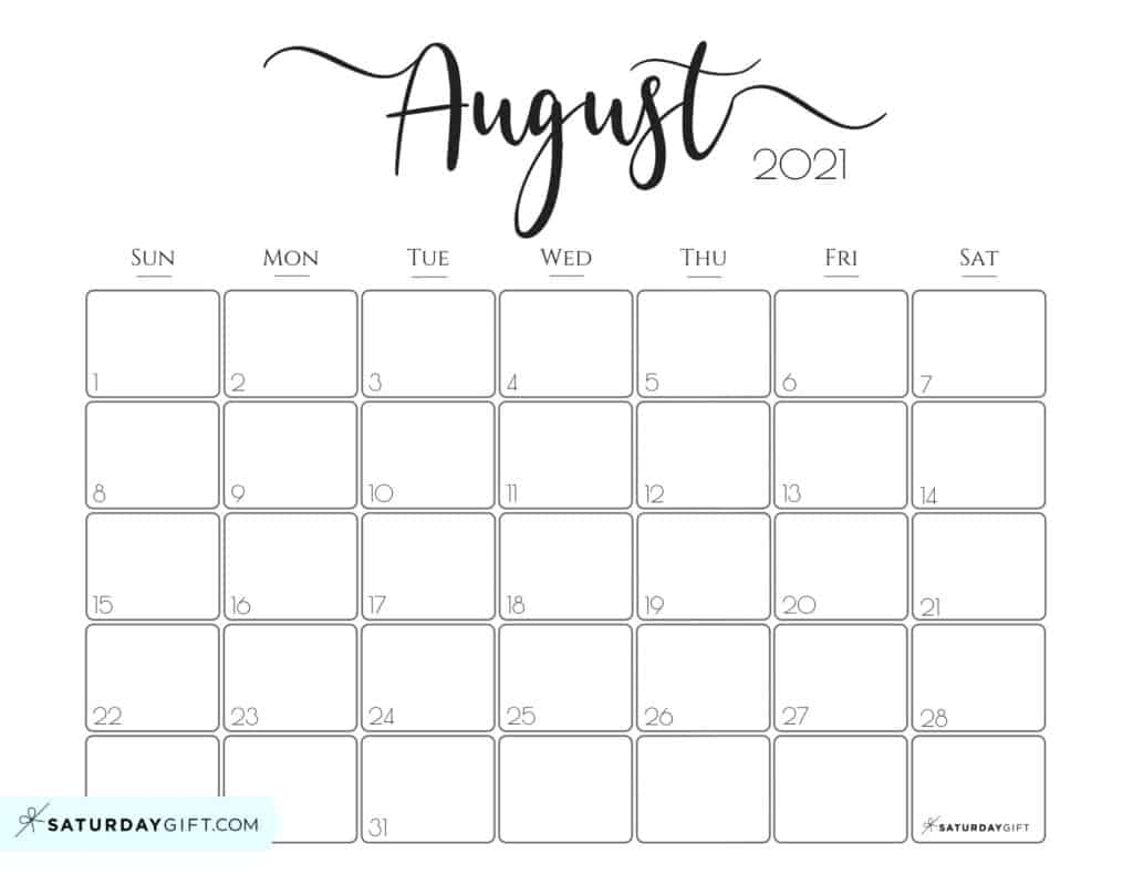 Get August 2021 Printable Calendar Colorful