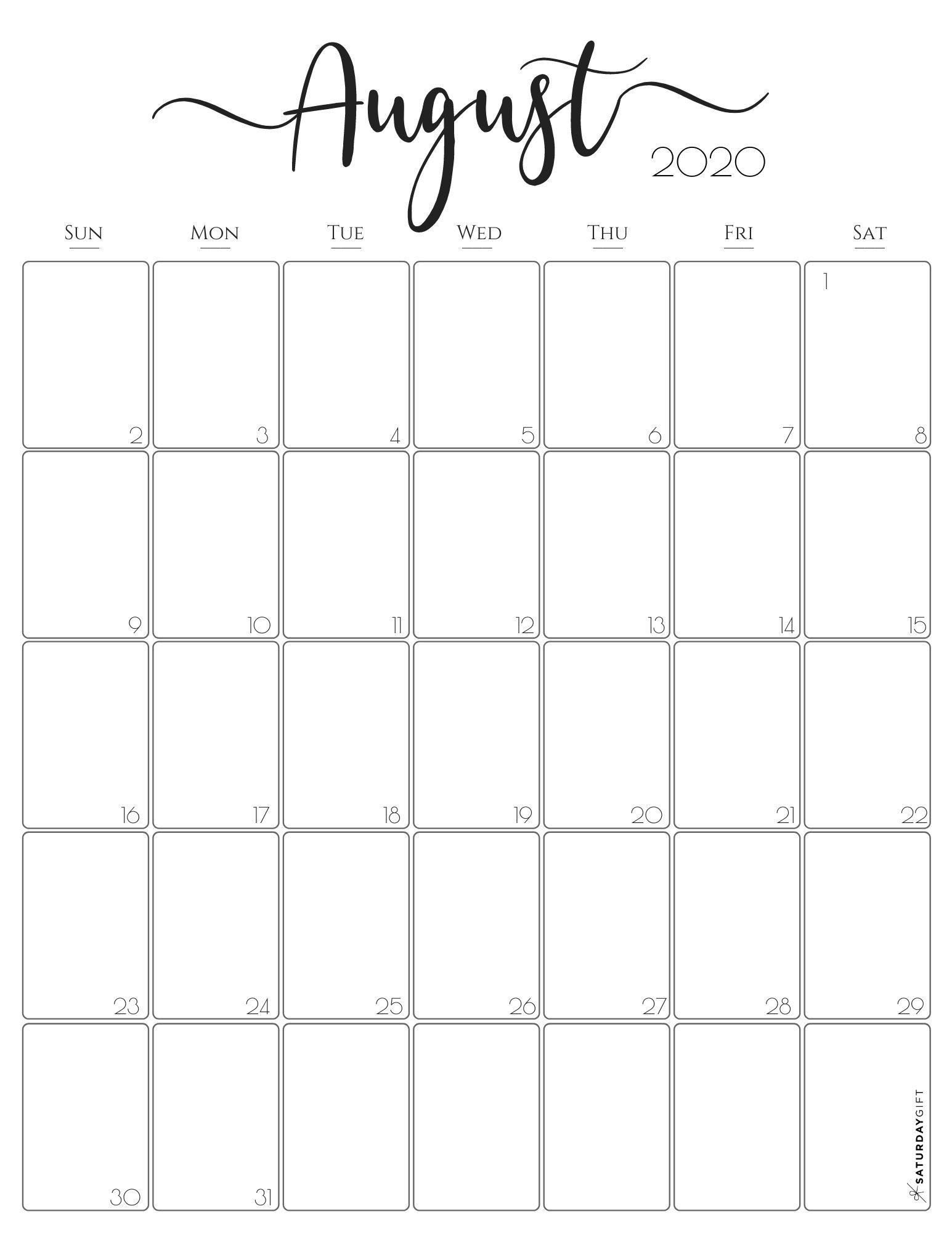 Get August Calendar 2021 Printable Free