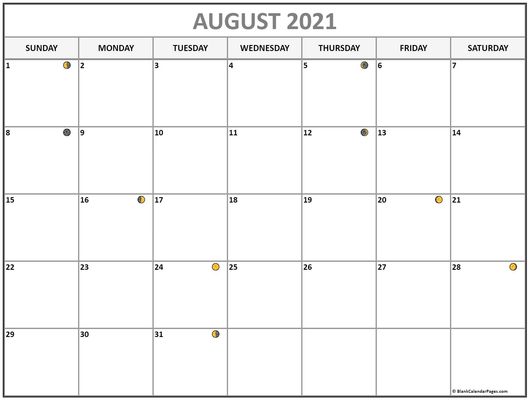 Get August Calendar 2021 With Moon Cycle