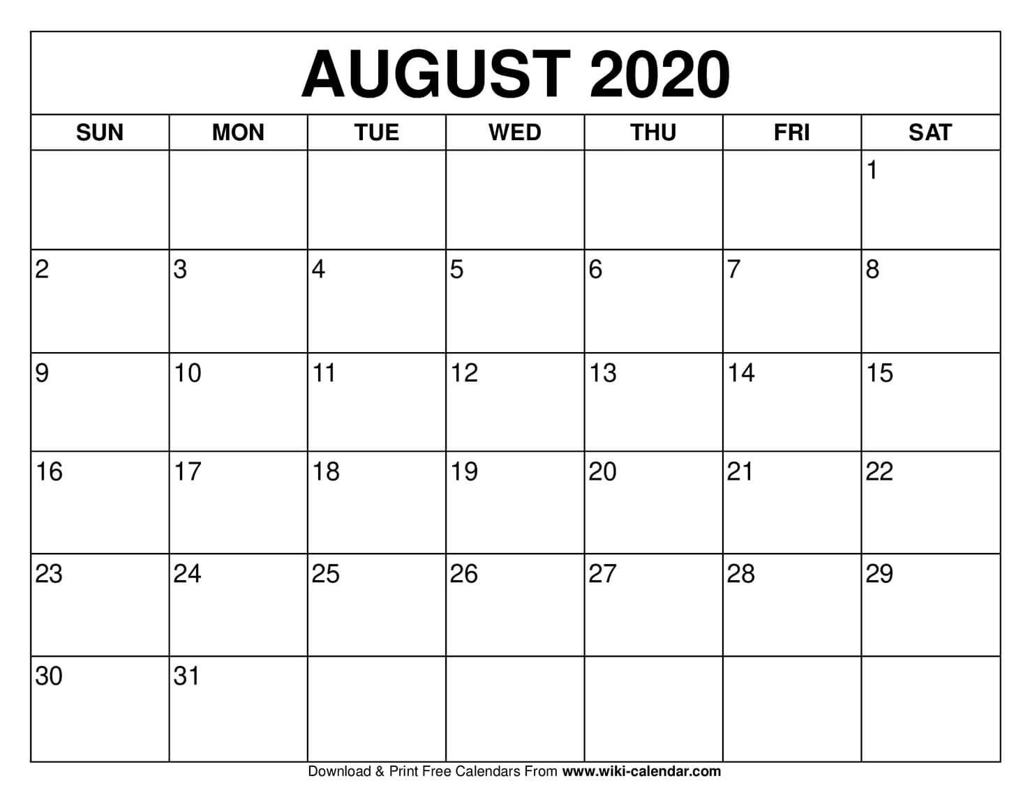 Get August Calendar Print Out