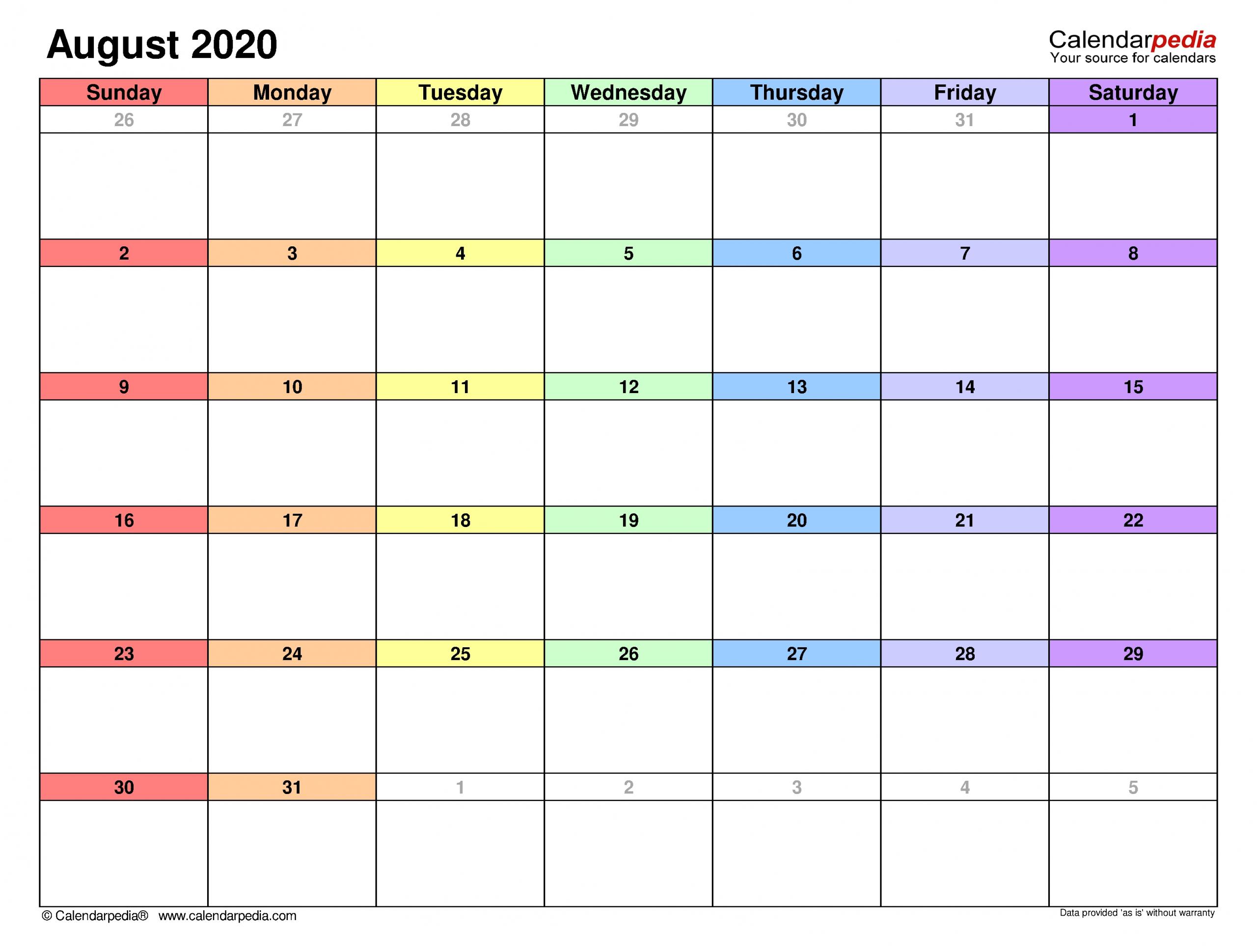 Get August Calendar Type In