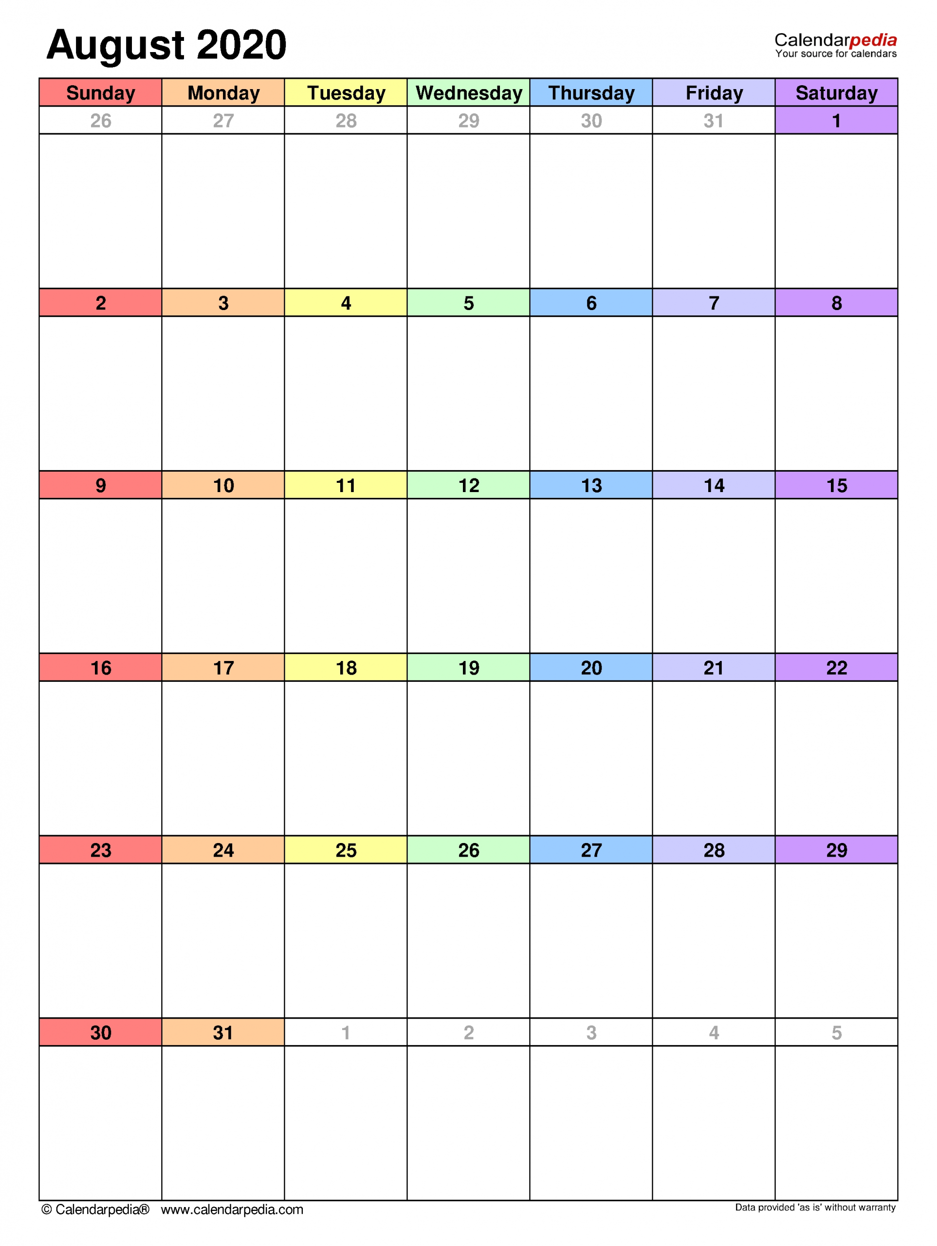 Get August Monthly Calendar Landscaoe