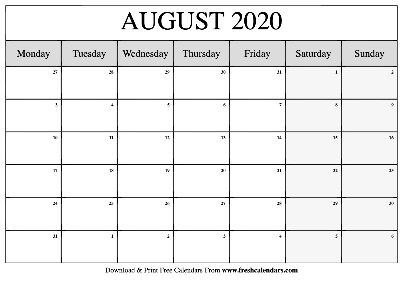 Get August Monthly Calendar Monday To Friday