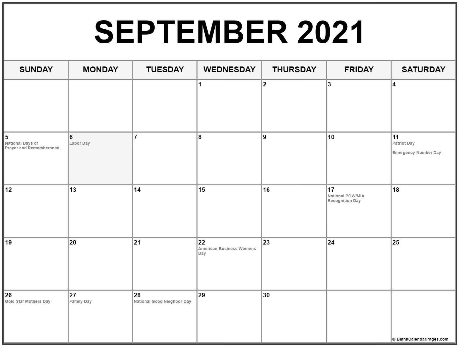 Get August September 2021 Calendar