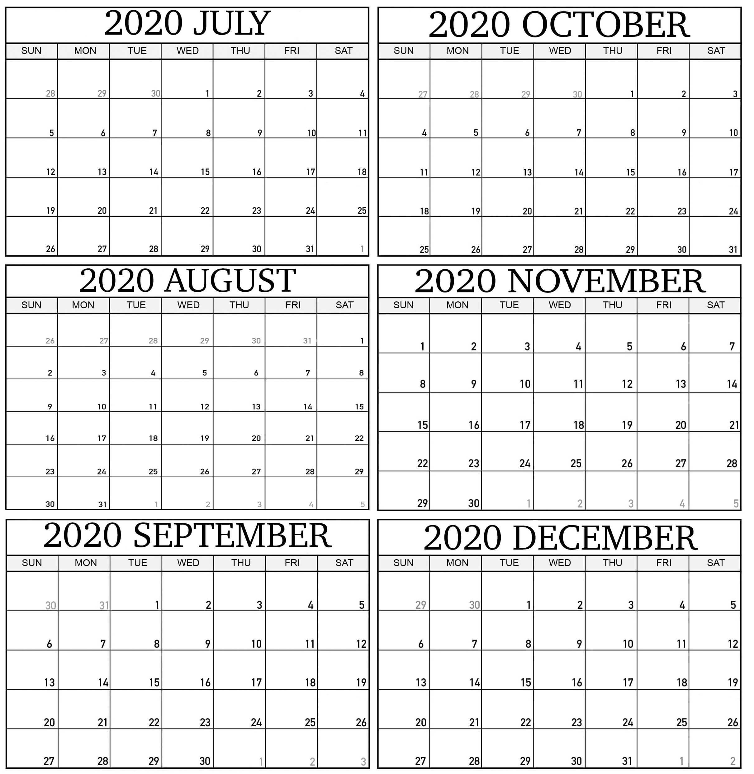 Get August Through December Calendar