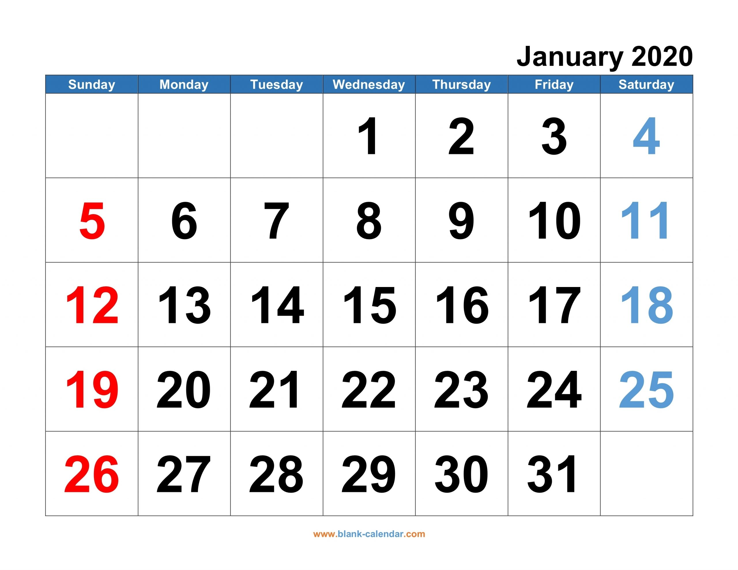 Get Big Number Printable Calendar