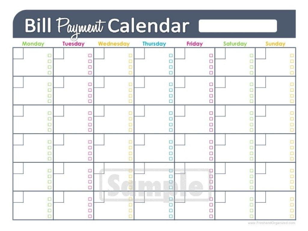 Get Bill Calendar Free Printable