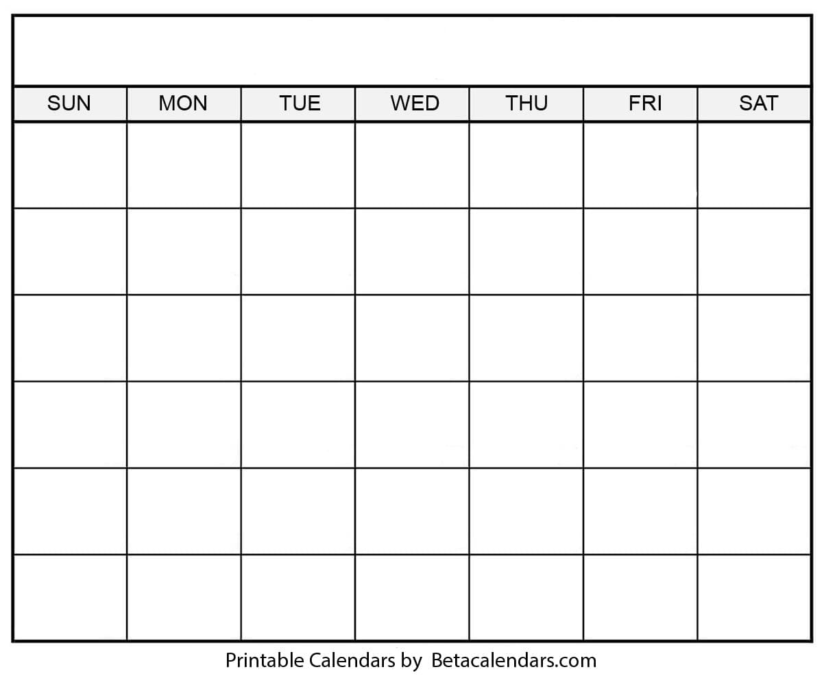 Get Blank 31 Day Calendar Printable