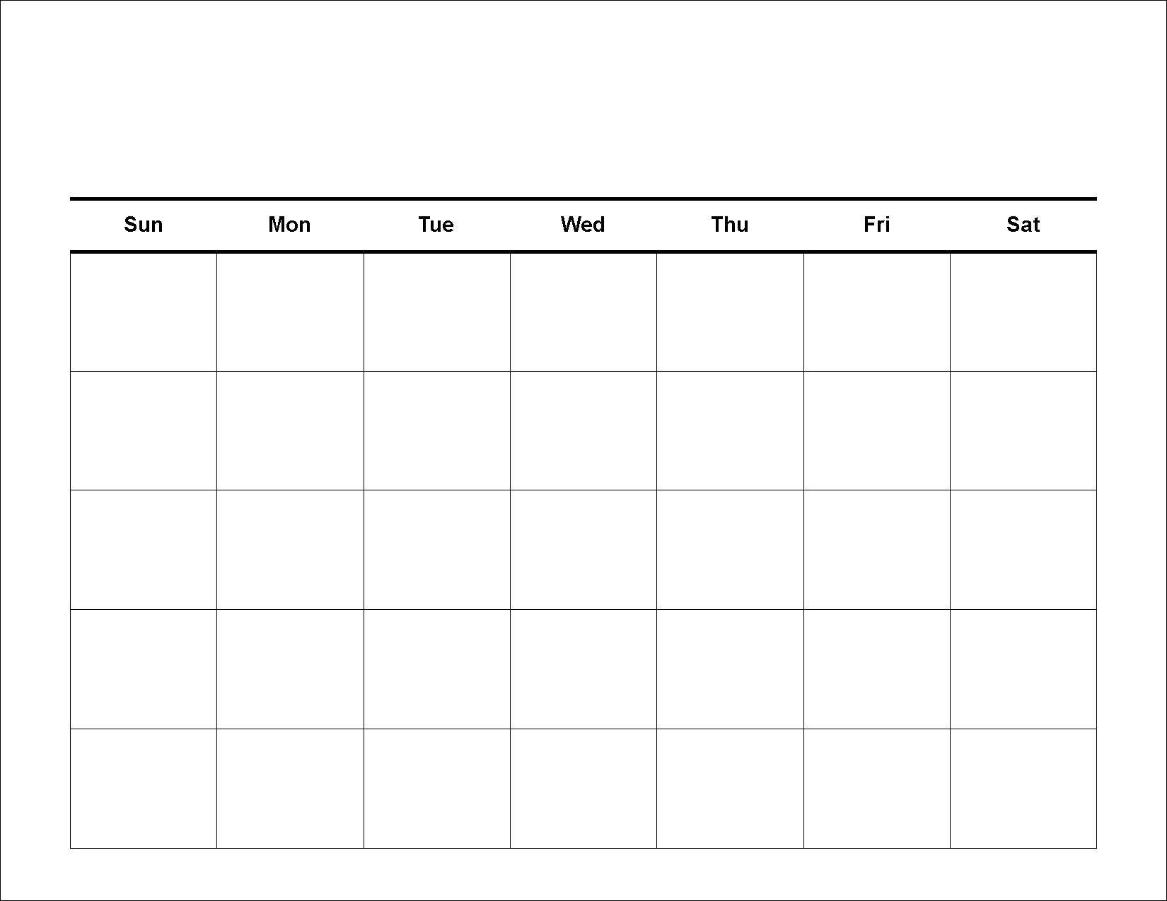 Get Blank 5 Day Calendar