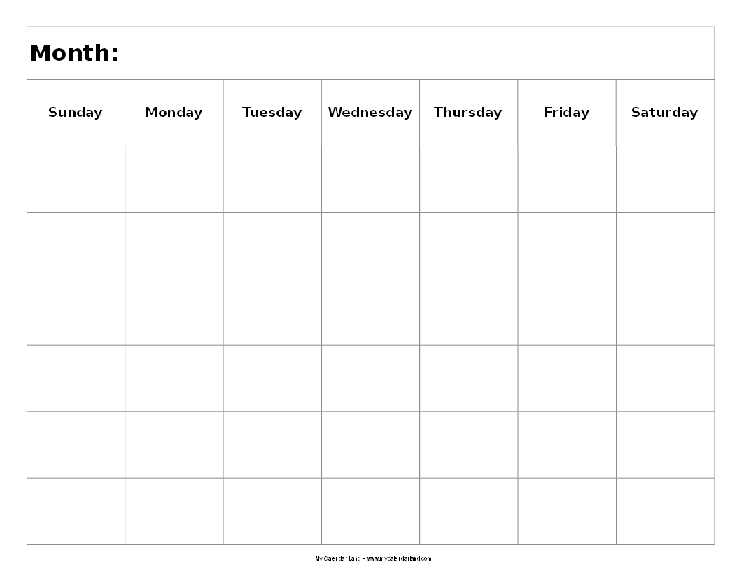 Get Blank 6 Week Calendar