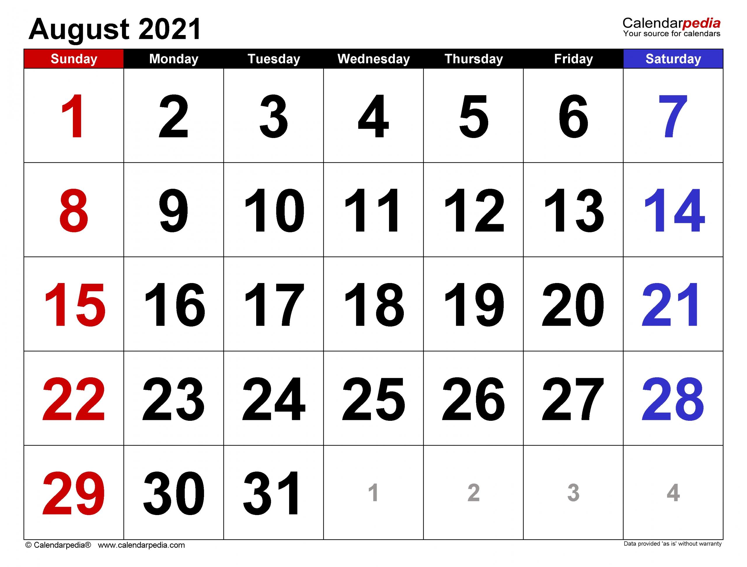 Get Blank August 2021 Calendar Printable