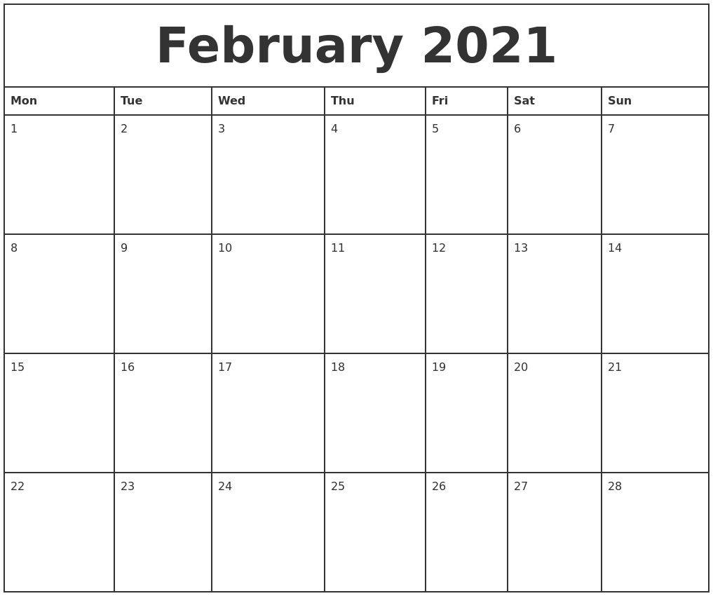 Get Blank Calendar 2021 Printable Monthly