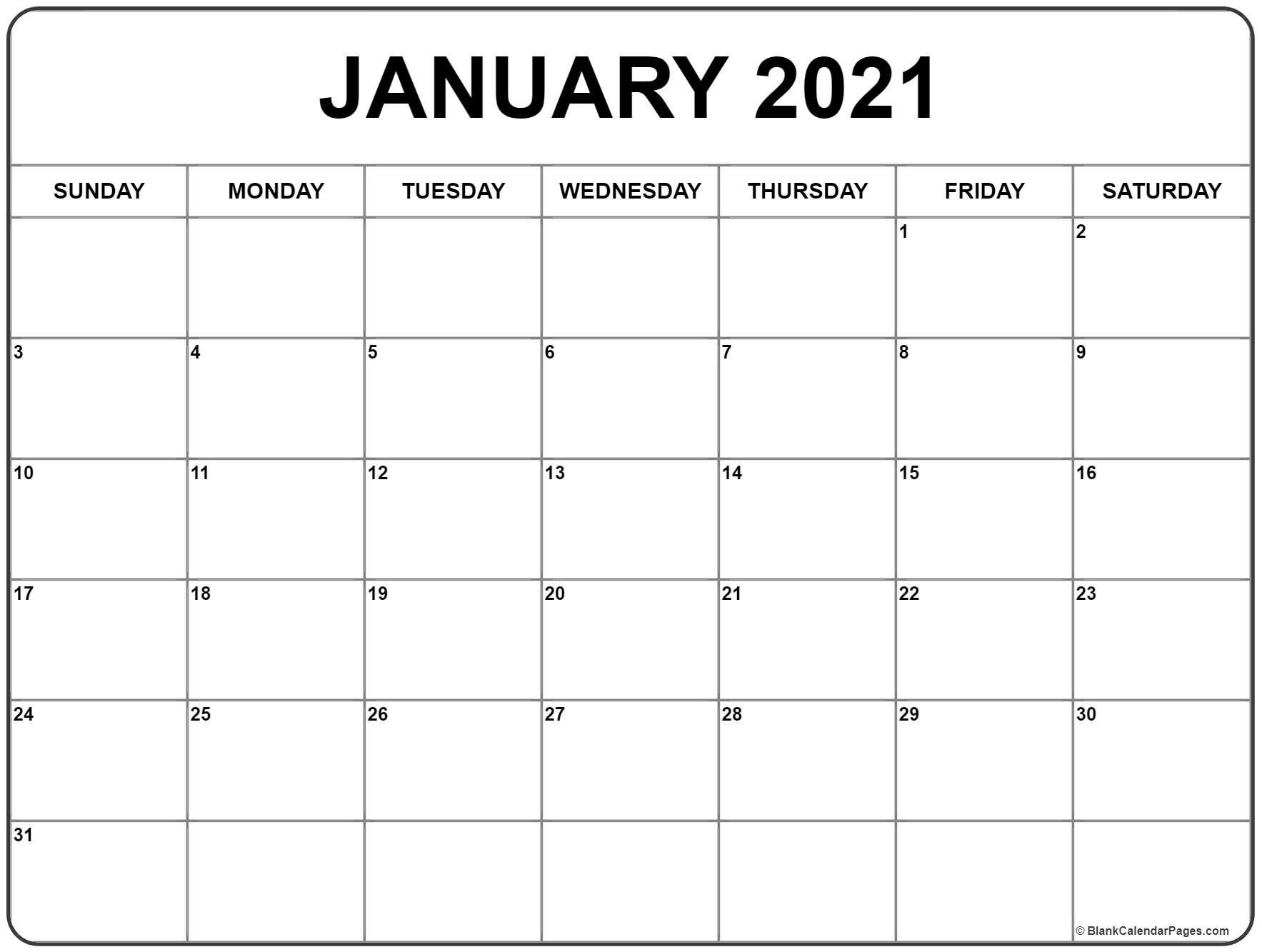 Get Blank Calendar 2021