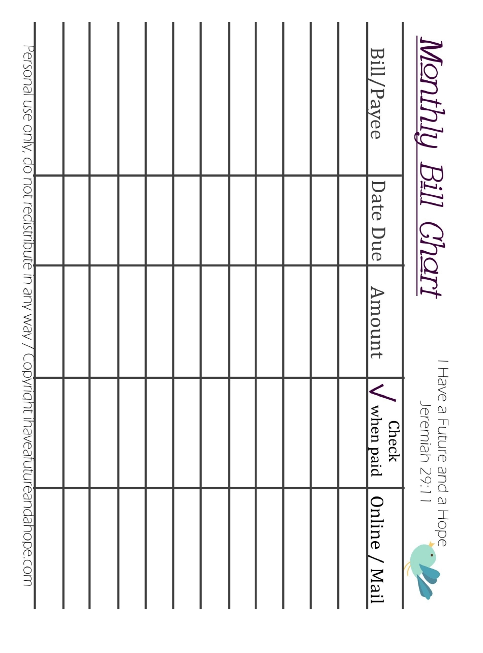Get Blank Chart For Monthly Bills