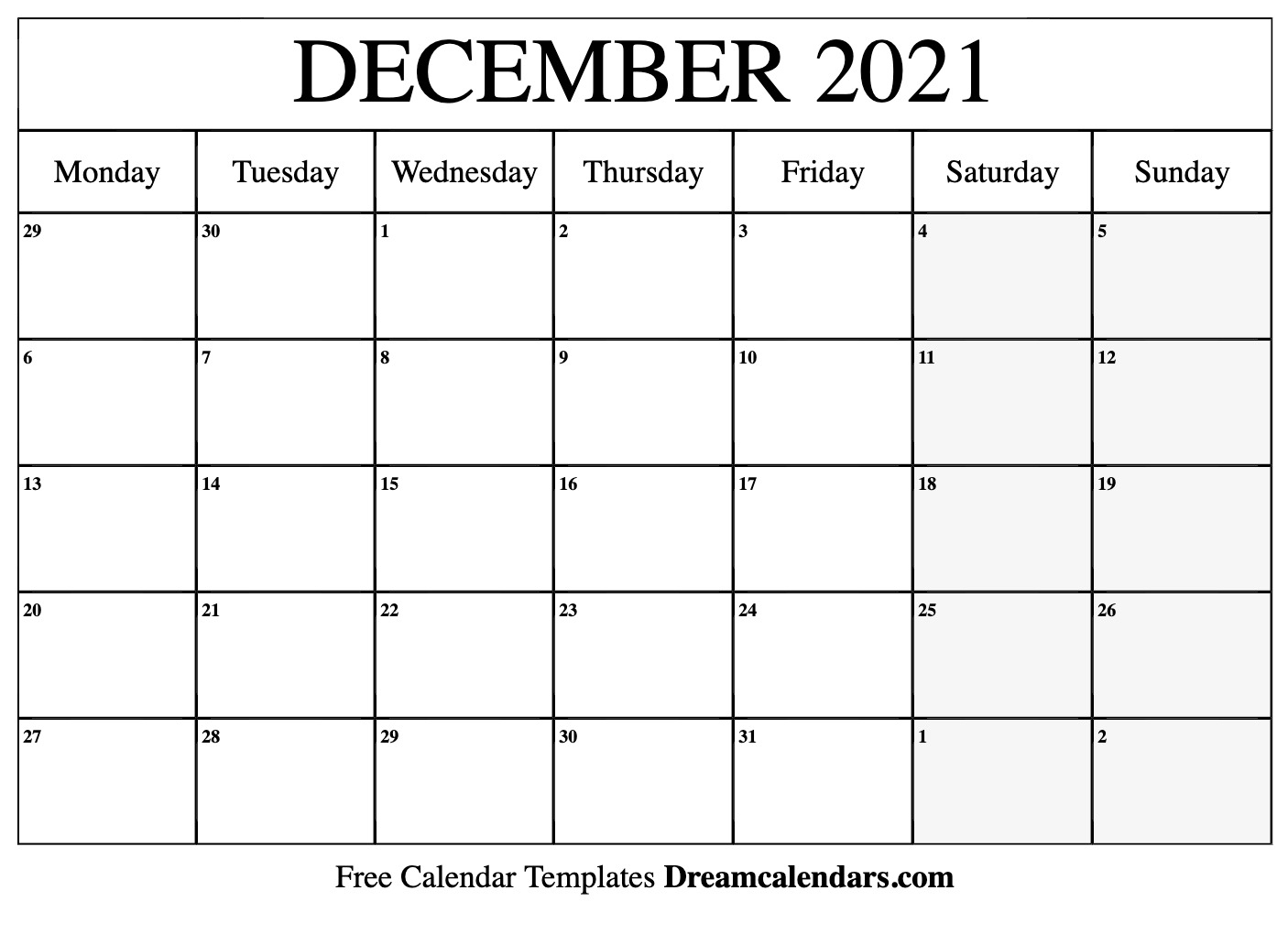 Get Blank Fillable Monthly Calendar 2021