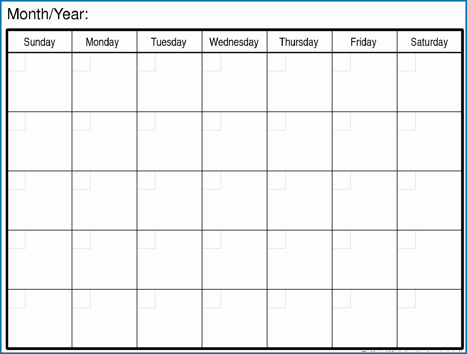 Get Blank Monthly Calendar Printable