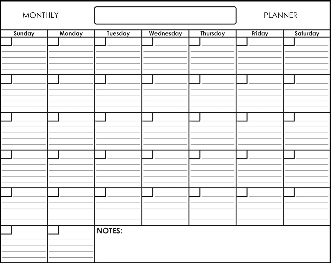 Get Blank Monthly Calendar With Lines
