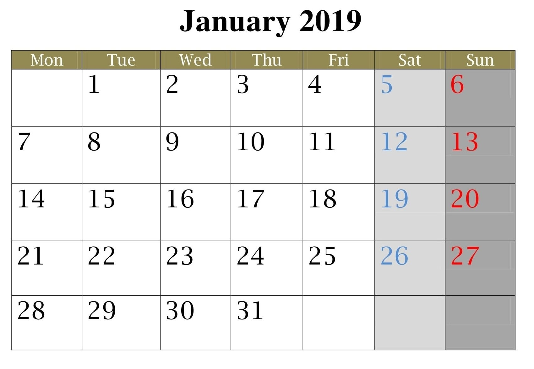 Get Blank Standard Calendar