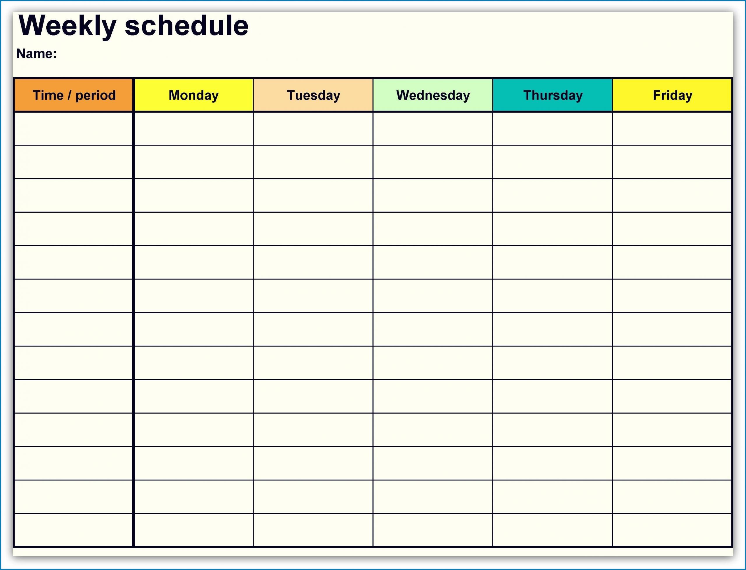 Get Blank Work Week Calendar Printable