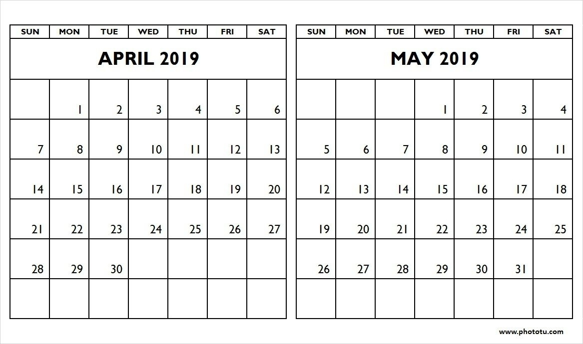 Get Caenders For April And May