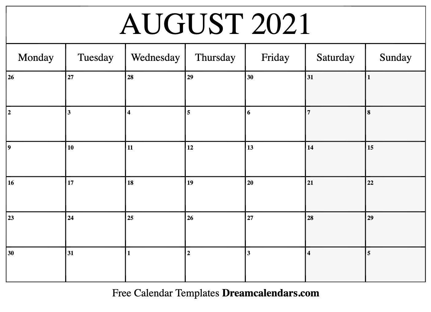 Get Calander Template Monday Sunday August 2021