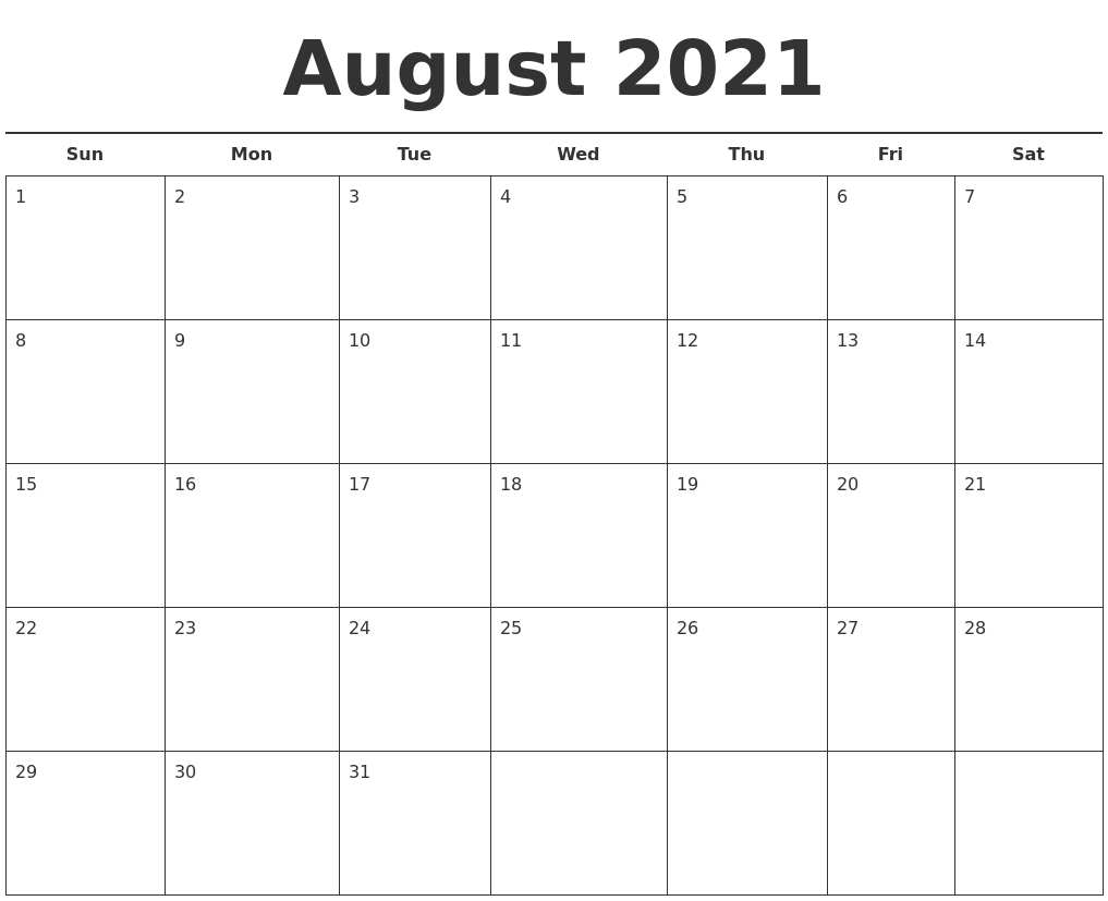 Collect Calander Template Monday-Sunday August 2021 - Best ...